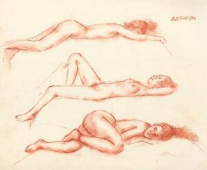 Peter Collins ARCA - Signed 1994 Sanguine, Three Reclining Nudes