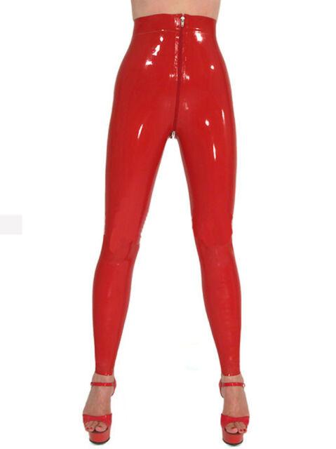 Sexy Latex Women Pants Rubber Leggings Trousers Front Zipper Gummi 0.4mm Unique