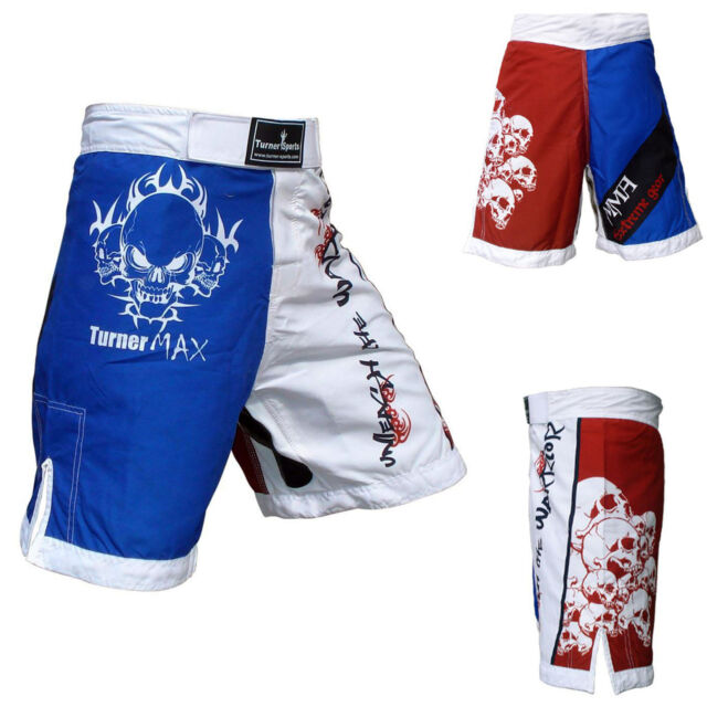 TurnerMAX Muay Thai Shorts Training Trunks Kick Boxing MMA Martial Arts Red