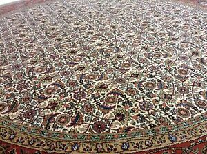 8-x-8-Round-Geometric-Persian-Oriental-Area-Rug-Ivory-Wool-Hand-Knotted-Carpet