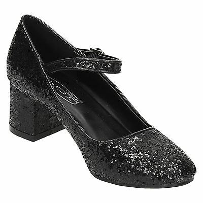 GIRLS SPOT ON GLITTER PARTY SHOES BUCKLE STRAP PINK BLACK SILVER HEEL H3057