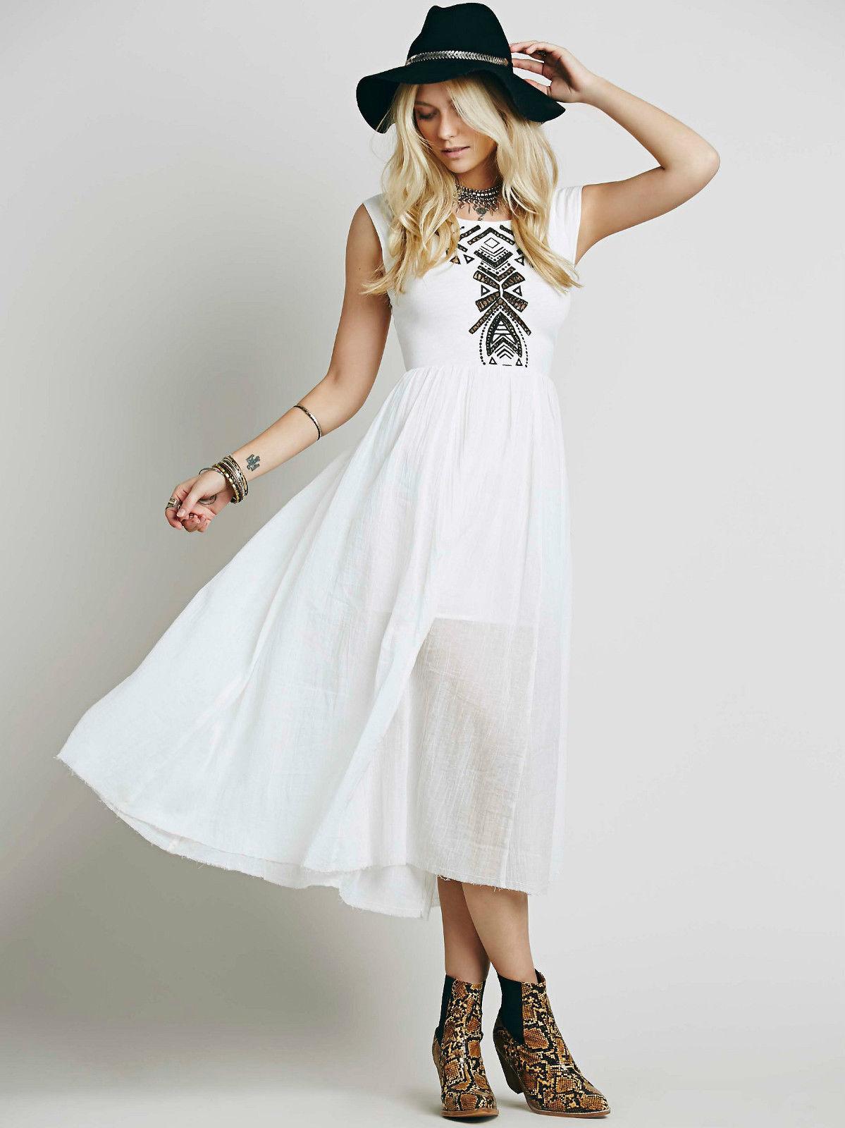NEW FREE PEOPLE Toosaloosa Midi Embroidered Dress - S 8 10 - Summer Beach