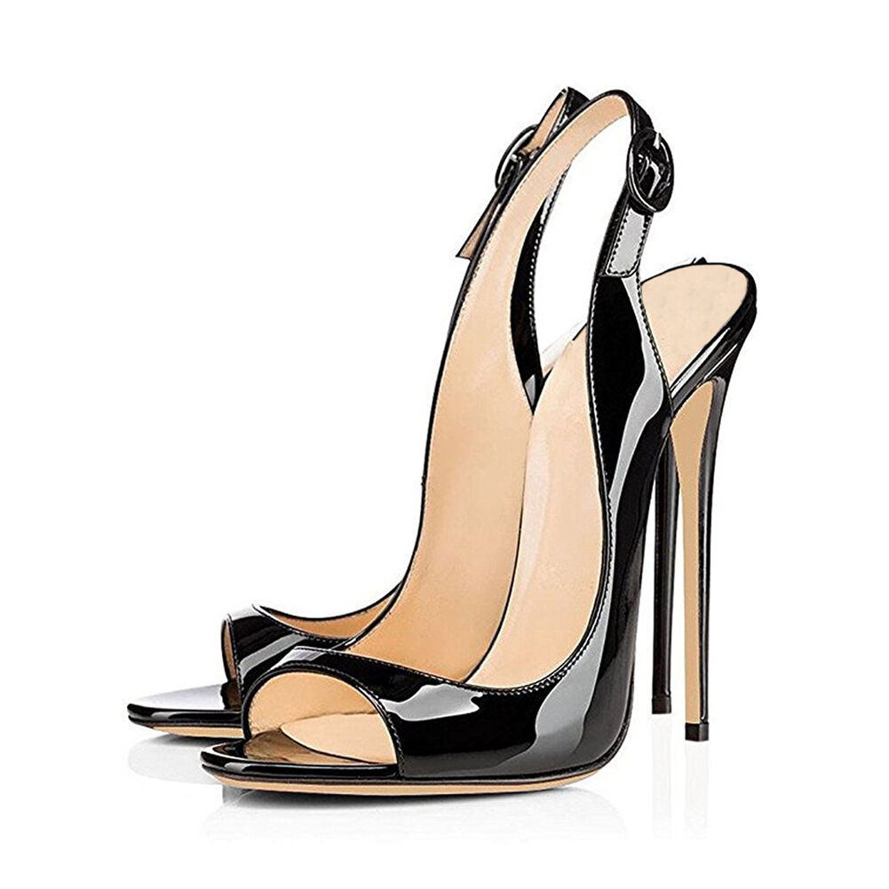 New Women's Patent Slingbacks High Heel Stilettos Peep Toe Pumps Sandals Shoes