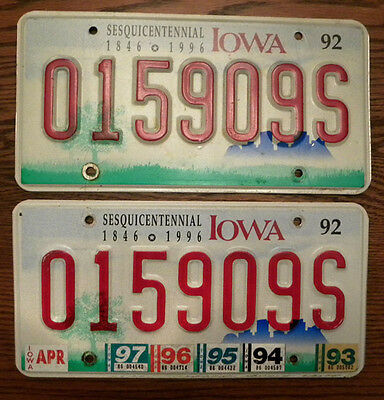 Reliable Matching Pair 1992-97 Iowa Sesquicentennial License Plates, Ia #015909s Durable Modeling
