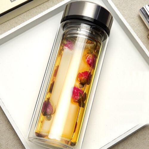 300 ml double paroi voyage Verre Bouteille D/'eau Tasse à Thé Avec Filtre Infuseur BPA gratuit