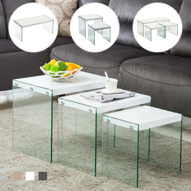 Modern Nest of 1/2/3 Tempered Glass Coffee Table Side /End Table Living Room