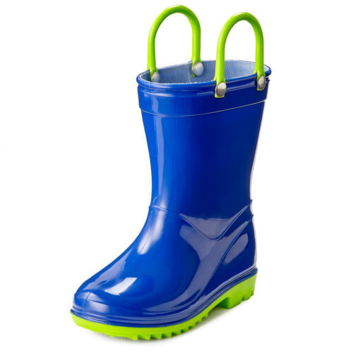 Boys and Girls Solid Colors Toddler and Kids  Rain Boots with Easy-On Handles
