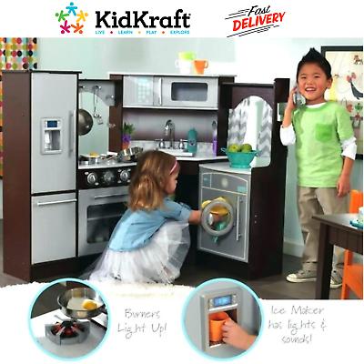 Exclusive Corner Play Kitchen Set KidKraft Realistic Lights ...