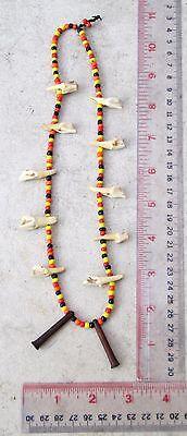 Vintage Nagaland Tribal Shaman Deer Tooth Amulet Necklace