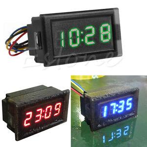 Details about DC 12V 24V Waterproof Car Motorcycle Dashboard Digital LED  Display Clock New