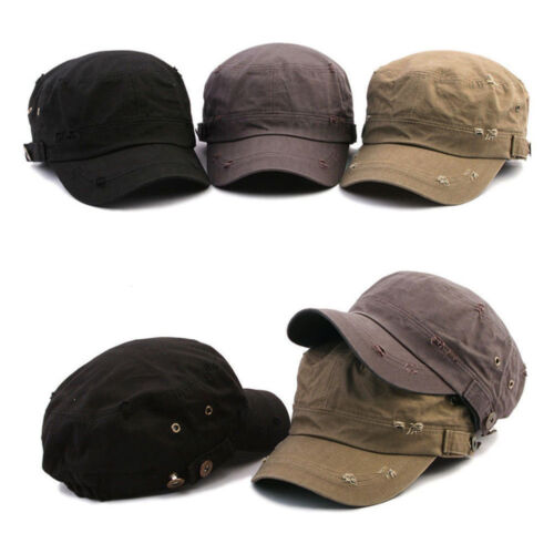 Unisex Mens Womens Ripped Stretch Fit Eyelets Buttons Cadet Cap Military Hats