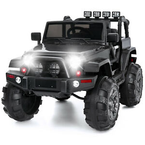 12V-Kids-Ride-on-Cars-Electric-Battery-LED-Lights-Remote-Control-3-Speed-Black