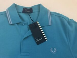 Nwt Fred Perry Twin Tipped Polo Shirt Size Small Nu Blue Style