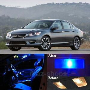 14pcs premium blue interior led lights package kit for - 2015 honda accord interior illumination ...