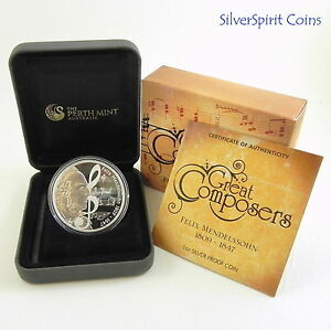 2009-GREAT-COMPOSERS-FELIX-MENDELSSOHN-Silver-Proof-Coin