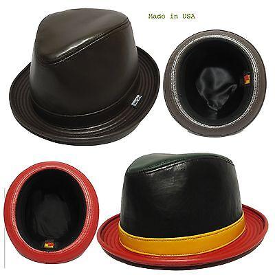 MEN/'S fedora safari bucket  hat cap 100/% genuine leather made in usa color brown
