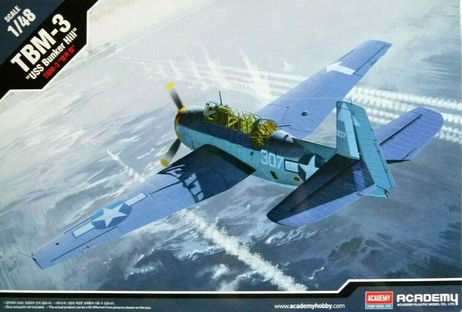 Academy 1 48 TBM-3  USS Bunker Hill  Aircraft Model Kit