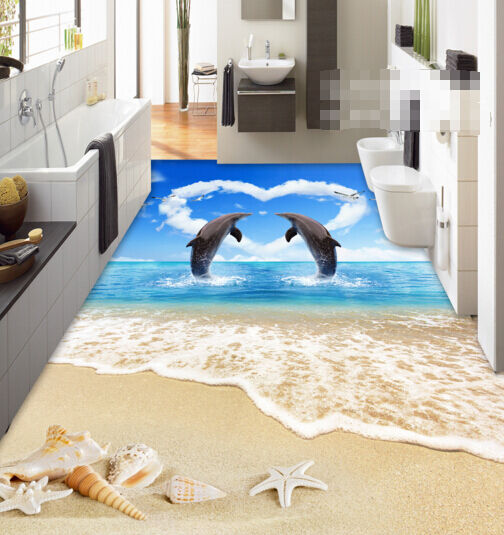 3D amore pesce estate Pavimento Foto Wallpaper Murales Muro Stampa Decalcomania