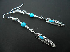 A PAIR OF  TIBETAN SILVER DROP DANGLY  FEATHER/TURQUOISE BEAD EARRINGS. NEW.