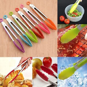 Am-Silicone-Food-Tongs-Salad-Serving-BBQ-Bread-Clip-Utensil-Kitchen-Cooking-Too