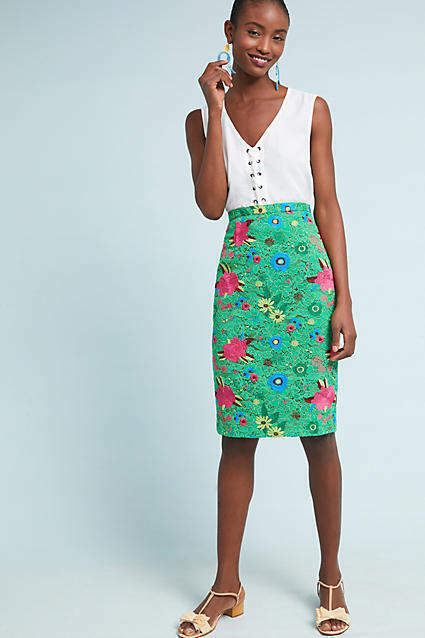 New Anthropologie Plenty By Tracy Reese Patricia Floral Lace Pencil Skirt Sz 2