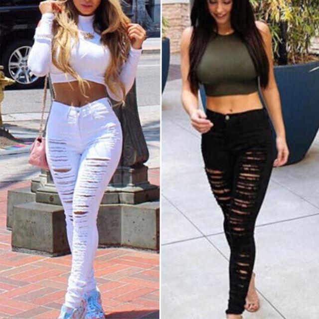 Women High Waist Skinny Ripped Frayed Denim Trousers Leggings Jeans Pencil Pants