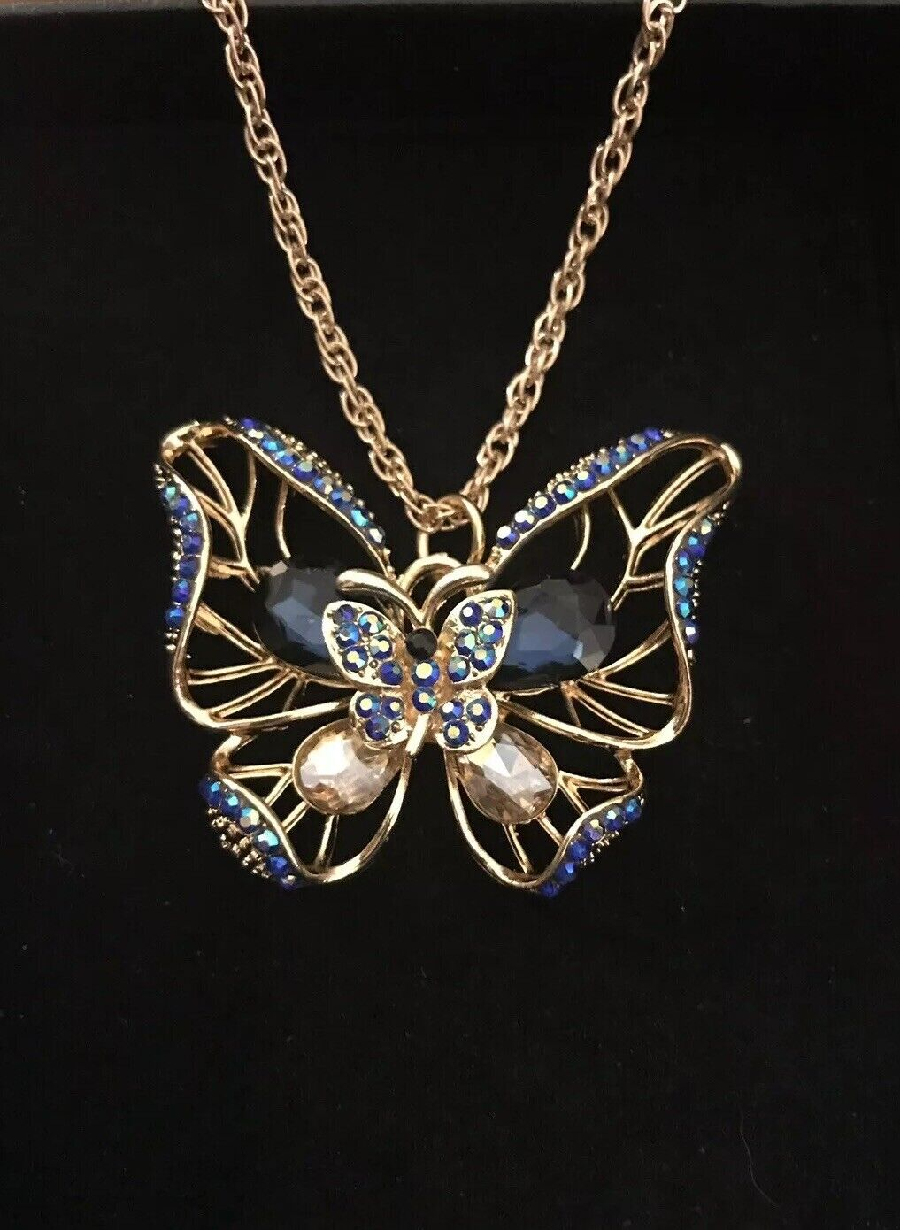 Betsey Johnson goldtone Sculptured Butterfly Pendent Faux Sapphires & Crystals
