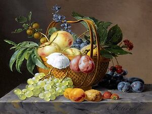 FRUIT FLOWER A. Oberman plum gooseberry Tile Mural Backsplash Art Marble Ceramic