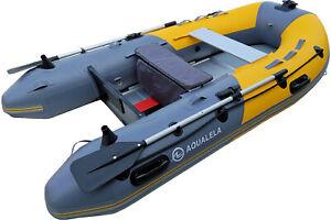 Schlauchboot-Ruderboot-AQUALELA-330-Alu-Boden-Paddelboot-Gummiboot-gelb-Motor