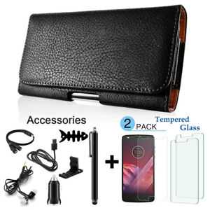 For-Motorola-Moto-Z2-Play-Force-Black-PU-Leather-Belt-Clip-Pouch-Holster-Case