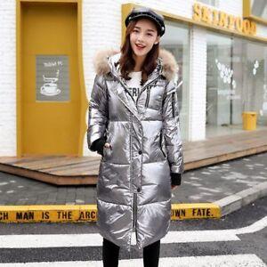 chaud parcs long épais de couleur métal brillant fourrure en d'hiver des femmes Col manteau manteau qvApwx4w6