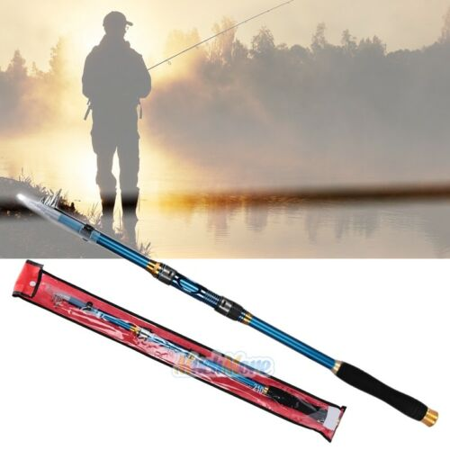 2x Carbon Telescopic Fishing Rod Travel Spinning Rod Pole 2.1m Professional USA