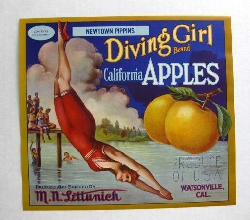 1920s Diving Girl Apple Crate Label w  Old Style Bathing Beauty Suit