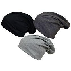 3 Stück Jersey Schwarz,Anthrazit, Grau Slouch Beanie XXL Long Mütze Damen Herren