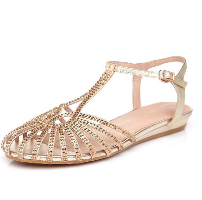 Para Mujer Casual de zapatosrhinestone calado calado calado Sandalias de Taco Plano Ojotas Playa Nuevo  contador genuino