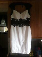 LIPSY VIP WHITE PENCIL DRESS SWEETHEART NECKLINE LACE APPLIQUE WAISTLINE SIZE 14