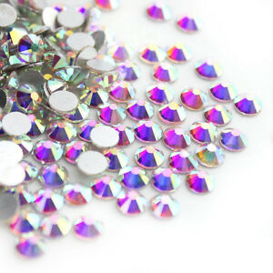 Sparkly-Crystal-AB-Flat-Back-Loose-Rhinestones-Gems-Diamante-Nail-Art-Crafts-DIY