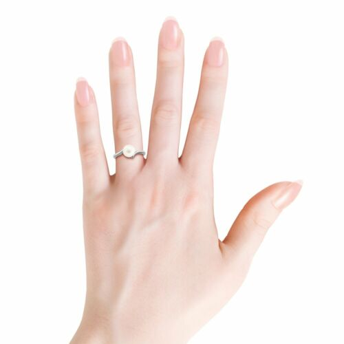 Solitaire 8MM Freshwater Pearl Bypass Ring Silver// 14k Gold Size 3-13 Angara