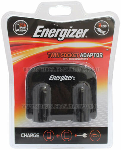 50504 Energizer 12v 24v 2 Way Car Lighter Multi Socket Twin USB Charger Adapter