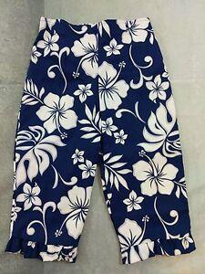 Aloha-Republic-Girls-Pants-Bottoms-Ruffled-Hem-Size-2T-Blue-White-Made-in-Hawaii