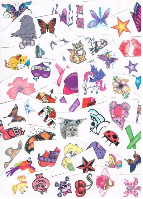 50 x Assorted Girls Temporary Tattoos -  Bulk Party Favours , Stocking Fillers