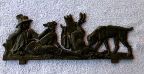 Dekoration Gusseisen Kaminplatte/Ofenplatte/Relief Jagdmotiv ca. 44,5 cm lang