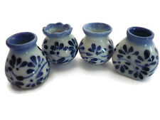 10x18mm Blue Spot Flower Hand Paint Bowl Dollhouse Miniature Ceramic 13212
