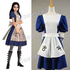 011bed622ffd3 Details about American McGee's Alice Madness Returns Cosplay Costume  Classic Maid Apron Dress