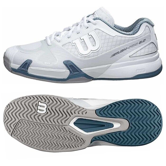 best service 7b563 77294 Men s Wilson Rush Pro 2.0 Tennis Shoes - White Gray Blue White Gray
