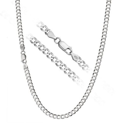 925 Sterling Silver Men/'s Italian 4mm Cuban Curb Link Chain Necklace ALL SIZES