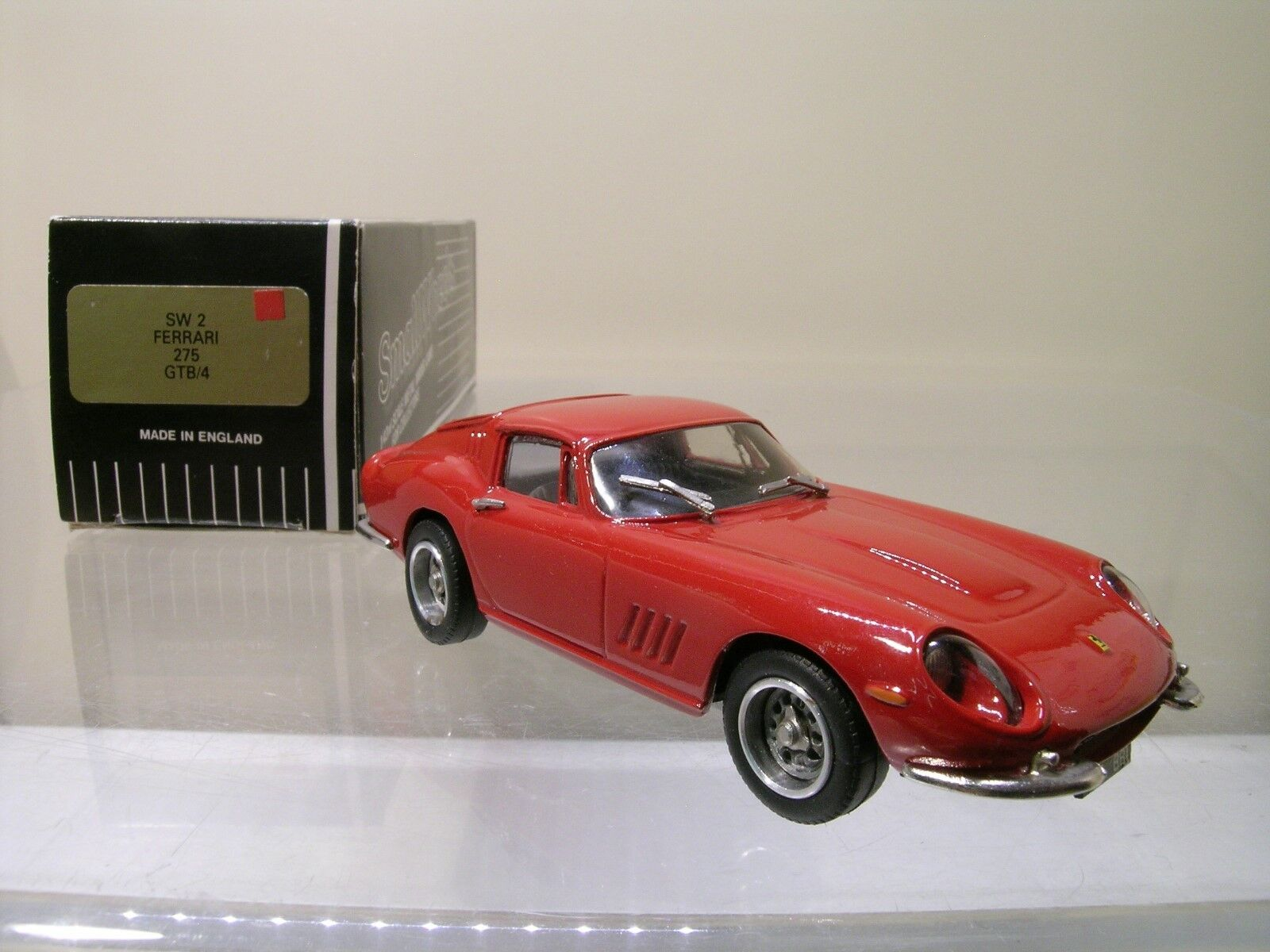 SMALL WHEELS SW2 FERRARI 275GTB 4 1966 rouge blanc METAL HANDBUILT BOXED 1 43