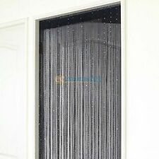 Exporthub Beautiful Fancy String Curtain Set Of 2 Black and White  (EHSCA023)