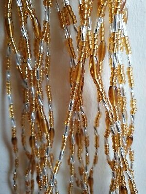 African Waist Beads 3 strands pea set gold silver  and Brown