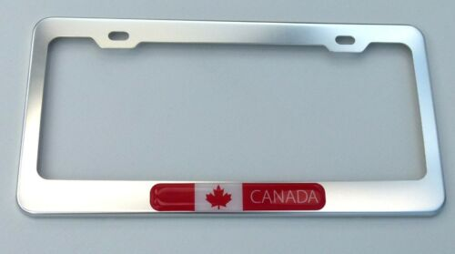 Canada Canadian Flag  Metal Silver Chrome finish Car auto License plate frame